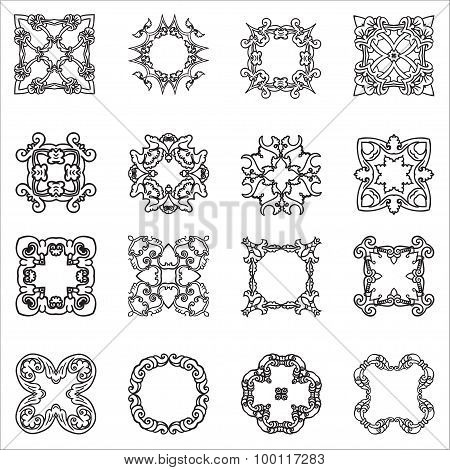 Set hand drawing zentangle decorative frame. Italian majolica style