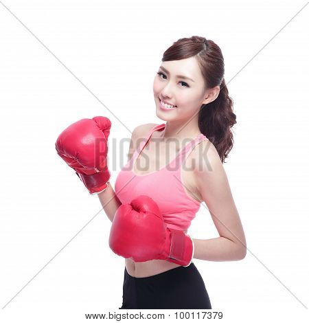 Sport Woman Is Boxing