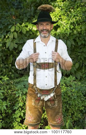Portrait Of Bavarian Man In Lederhosen