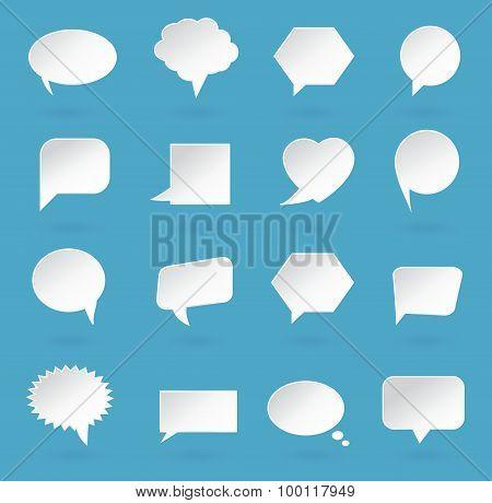 Speech bubble icons. White paper speech bubbles