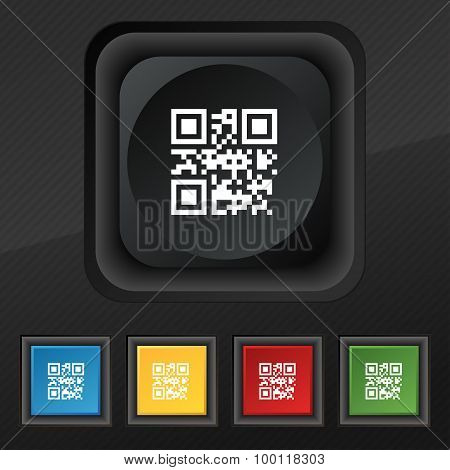 Qr Code Icon Symbol. Set Of Five Colorful, Stylish Buttons On Black Texture For Your Design. Vector