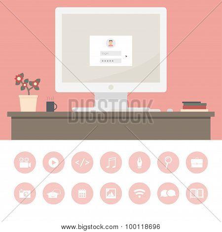 Modern workplace of freelancer.