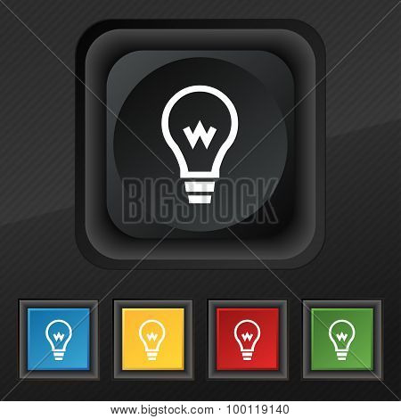 Light Bulb Icon Symbol. Set Of Five Colorful, Stylish Buttons On Black Texture For Your Design. Vect