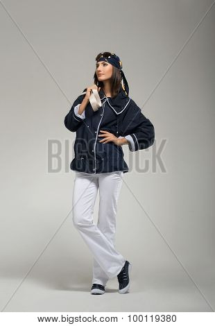 Young woman posing at casual wear