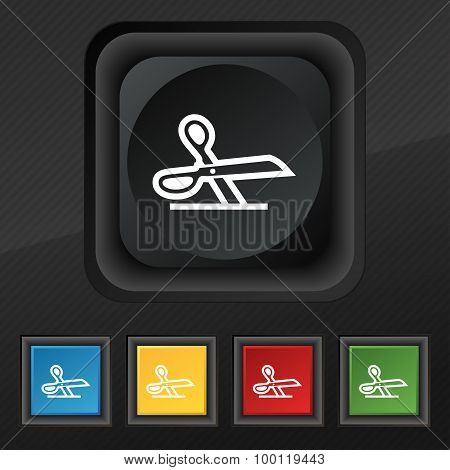 Scissors Icon Symbol. Set Of Five Colorful, Stylish Buttons On Black Texture For Your Design. Vector