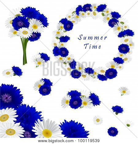 Set of decorative elements with flowers chamomile and cornflowers