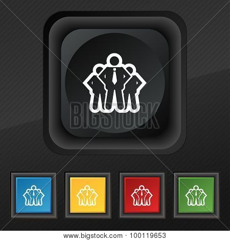 Business Team Icon Symbol. Set Of Five Colorful, Stylish Buttons On Black Texture For Your Design. V