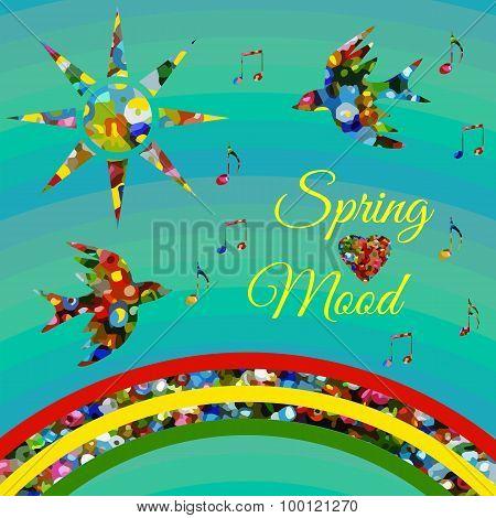 Springmood Composition With Sun And Birds