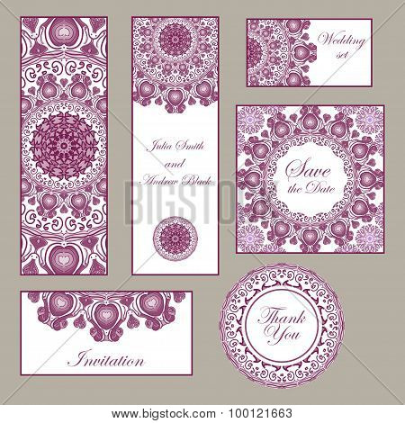 Wedding Set. Invitation, Thank You Cards, Save The Date Cards