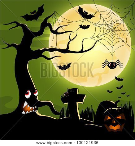 Halloween background with tree monster