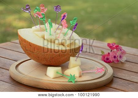 Melon And Slices On Skewers