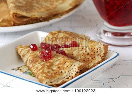 Pancakes With Red Currant Jam