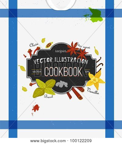 Colorful cover for cookbook, notebook with spices in flat style. Vector kitchen backdrop.
