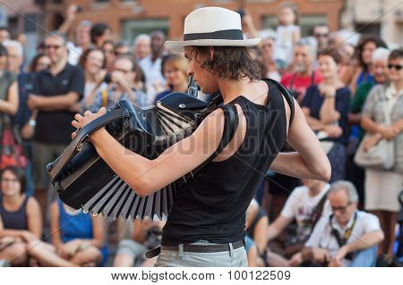 Busker Festival 2015  Musician Playing The Accordion
