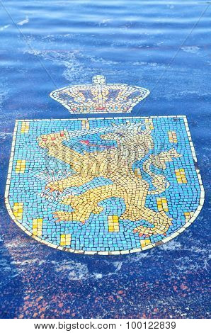 Coat Of Arms Of Netherlands, Represented In The Hanseatic Fountain In Veliky Novgorod, Russia