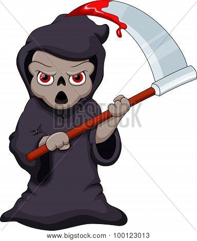 Cute cartoon Grim Reaper