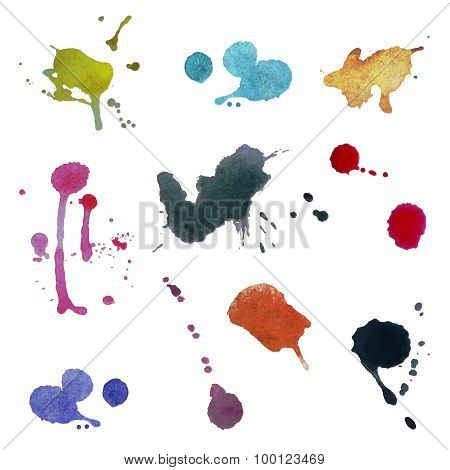 Collection Of Colorful Abstract Watercolor Backgrounds. Vector, Isolated.