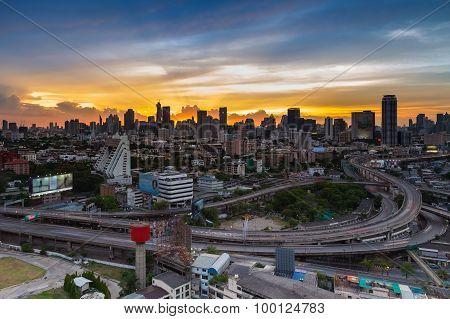 Bangkok city freeway intersection