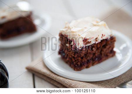 Piece Of Cherry And Meringue Cake