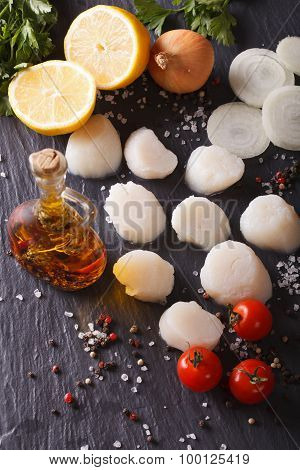 Raw Scallops And Ingredients For Cooking Close-up. Vertical