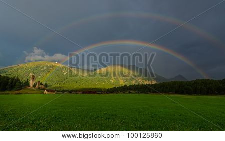 Real Full Double Rainbow In A Mountain Meadow