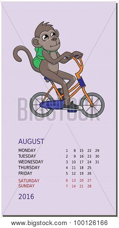 Vertical Calendar With A Monkey On August 2016