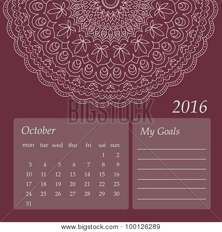 Mandala Calendar October 2016. Vintage decorative elements. Oriental pattern, vector illustration.