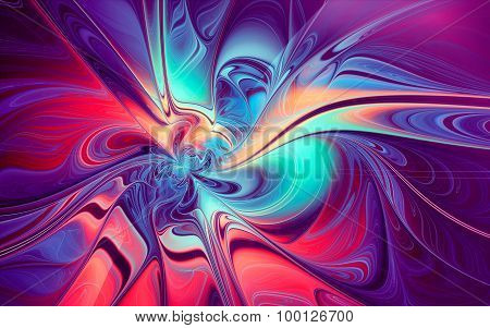 Red-blue Wavy Liquid Paint