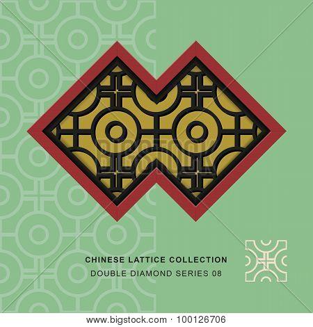 Chinese window tracery lattice double diamond frame 08 cross round