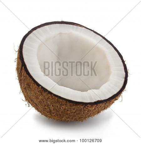 Half Coconut Close-up Isolated On A White Background