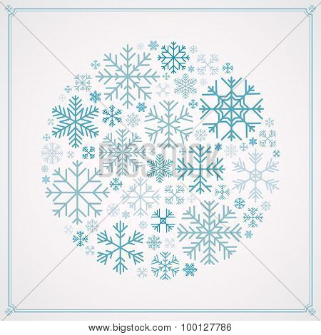 Vector decorating design made of snowflakes