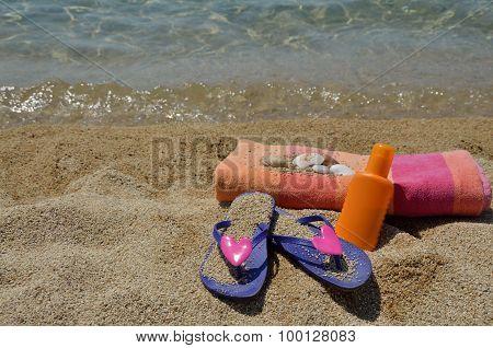 Violet Flip Flops And Beach Set