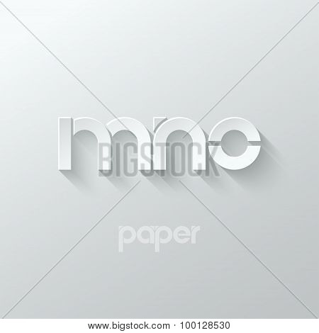 letter M N O logo alphabet icon paper set background