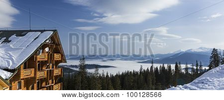 Winter mountain scenery at recreational village