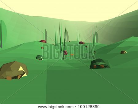 Low Poly Retro Style Bug World