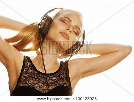 young sweet talented teenage girl in headphones singing isolated