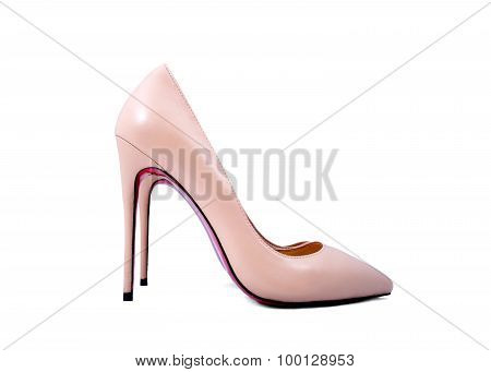 Beige Shoes On A White Background