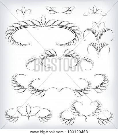 Black and white vector set a lot of patterns and page decoration. EPS10 vector illustration