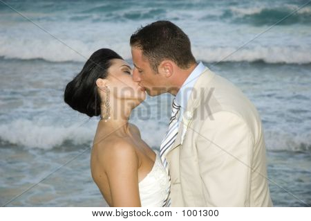 Caribbean Beach Wedding - The Kiss