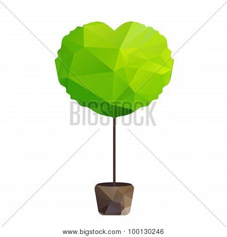 Vector Triangle Tree In Pot As Heart