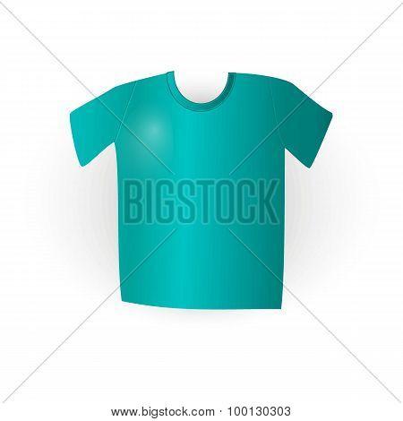 Blue T-shirt On White In Vector, Eps