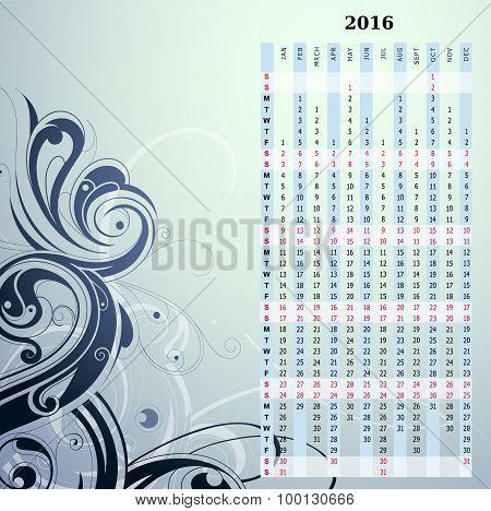 Year 2016 vertical calendar