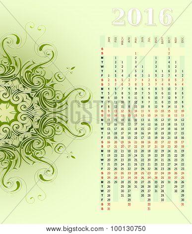 Year 2016 vertical calendar design