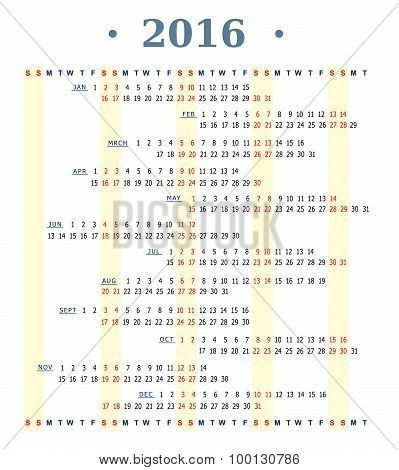 Horizontal calendar for year 2016