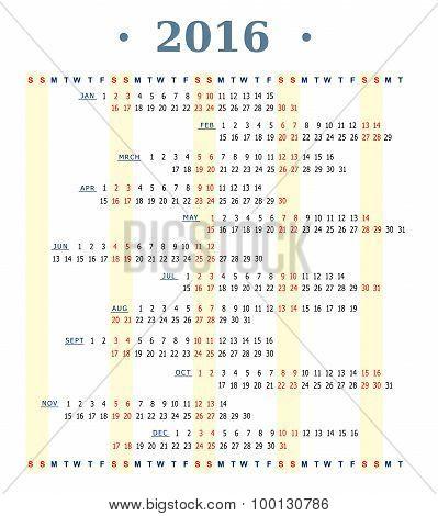 Horizontal calendar for year 2016