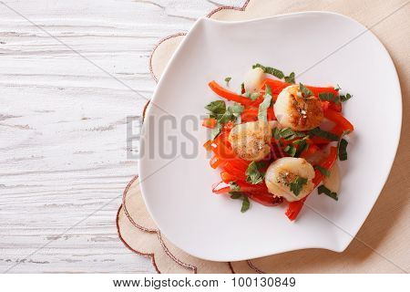 Grilled Scallops With Peppers And Herbs. Horizontal Top View