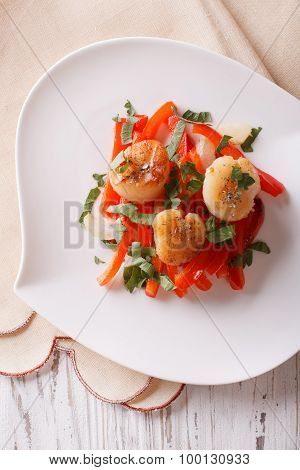 Grilled Scallops With Peppers And Herbs Closeup. Vertical Top View