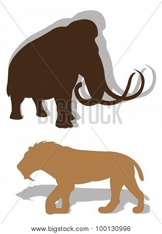 Mammoth and saber-toothed tiger