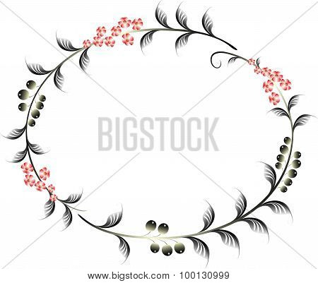Frame in the shape of an ellipse of berries and red flowers. EPS10 vector illustration