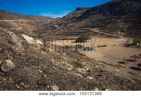 Picturesque Landscape After  Fire On  Island Of Kythira